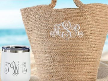 Lillian Vernon Beach Tote and Wine Tumbler