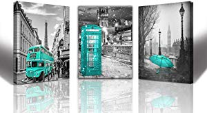 teal paris decor Wall Art for Living Room London Big
