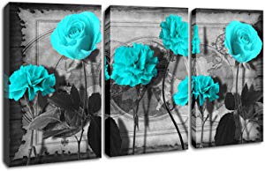 Blue Flower Wall Art Canvas Black World Map Canvas… Giveaway
