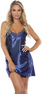 Popsi Lingerie Womens Dreamy Satin Chemise with Lace… Sweepstakes