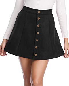 Fuinloth Women's Faux Suede Skirt Button Closure A-Line… Sweepstakes