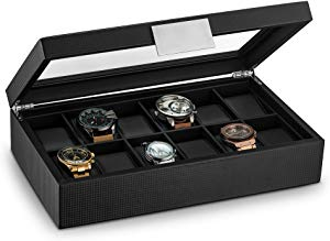 Glenor Co Watch Box for Men – 12 Slot Luxury Carbon Fiber Design Display Case Giveaway