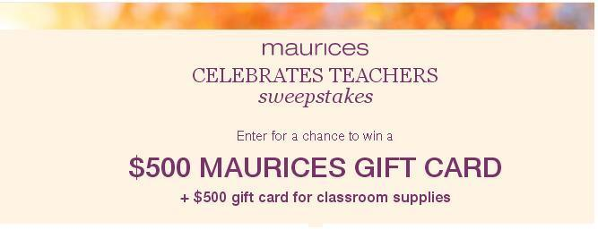 Maurices Celebrates Teachers Sweepstakes