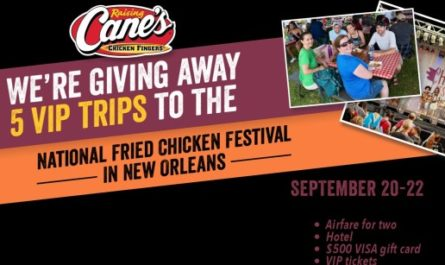 Raising Canes National Fried Chicken Festival Flyaway Sweepstakes