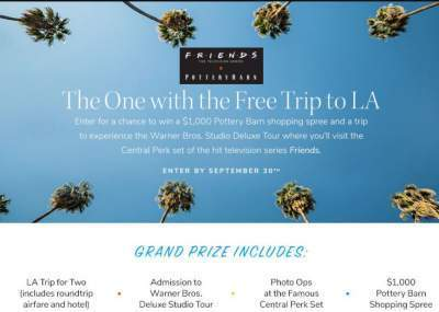 Friends TV Pottery Barn Sweepstakes