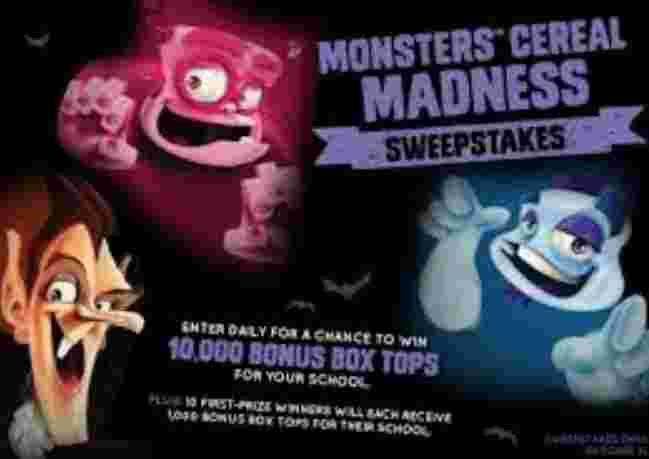 Box Tops for Education Monsters Cereal Madness Sweepstakes