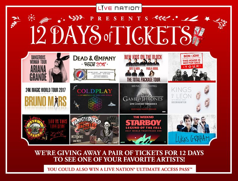 Live Nation 12 Days of Tickets Giveaway