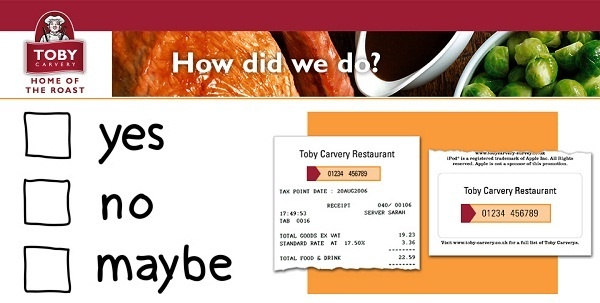 Toby Carvery Survey Win Free Pudding