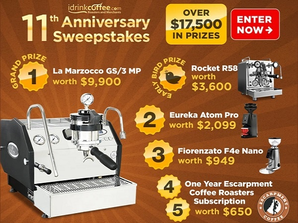 iDrinkCoffee.com 11th Anniversary Sweepstakes