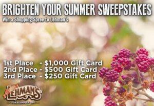 Lehman's Brighter Summer Sweepstakes