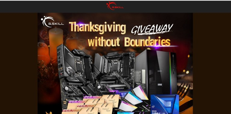 Gskill Thanksgiving Without Boundaries Giveaway