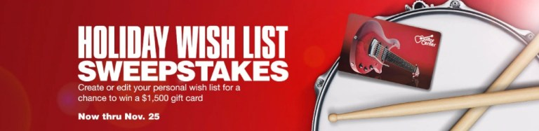 Guitar Center Holiday 2020 Wish List Sweepstakes
