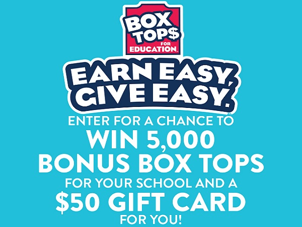Box Tops For Education Earn Easy and Give Easy Sweepstakes