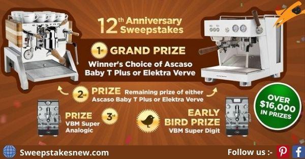 iDrinkCoffee 12th Anniversary Sweepstakes
